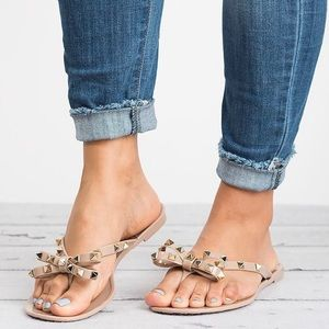 Shoes - Nude Studded bow Jelly Flat Sandal